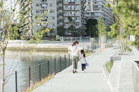 手をつないで歩く親子の写真素材 [FYI01733229]