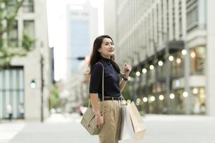 ショッピングバッグを持つ若い女性の写真素材 [FYI01733254]