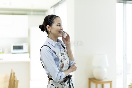 電話をする母親の写真素材 [FYI01733284]