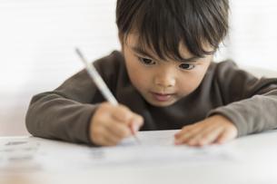 教室で勉強をする男の子の写真素材 [FYI01733332]