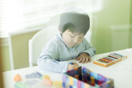 お絵描きをする男の子の写真素材 [FYI01733415]