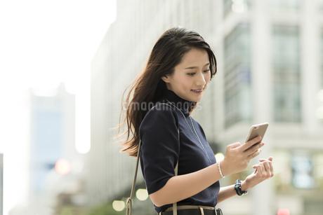 スマートフォンを見る若い女性の写真素材 [FYI01733432]