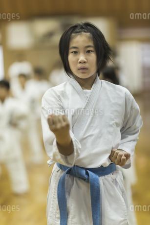 空手の稽古をする女の子の写真素材 [FYI01733465]