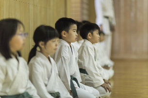 空手の稽古中の子供たちの写真素材 [FYI01733509]