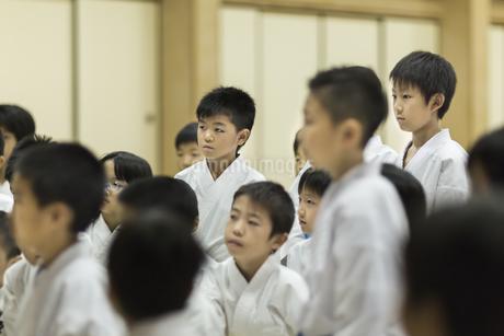 空手の稽古中の子供たちの写真素材 [FYI01733519]