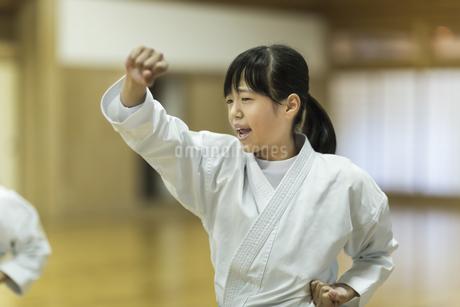 空手の稽古をする女の子の写真素材 [FYI01733532]