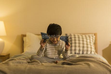 昆虫のおもちゃを手に持つ男の子の写真素材 [FYI01733588]