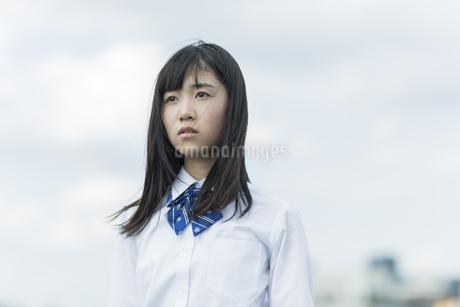 遠くを見つめる女子学生の写真素材 [FYI01733659]