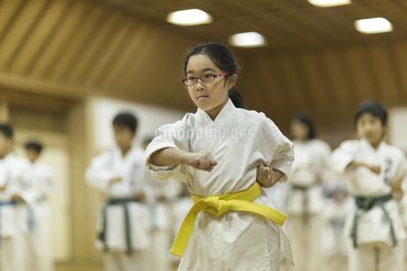 空手の稽古をする女の子の写真素材 [FYI01733785]