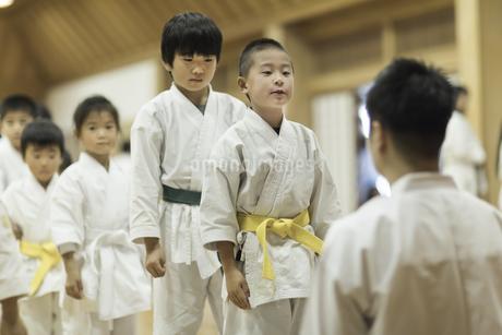 空手の稽古中の子供たちの写真素材 [FYI01733823]