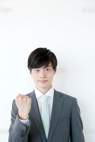 ガッツポーズを見せるヤングビジネスマンの写真素材 [FYI01735716]