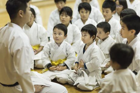 空手の稽古中の子供たちの写真素材 [FYI01736509]