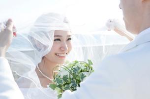 ベールを上げて新郎を見る新婦の写真素材 [FYI01736952]
