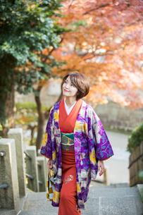 紅葉を楽しむ着物姿の30代女性の写真素材 [FYI01737164]