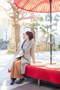 茶屋でくつろぐ30代女性の写真素材 [FYI01737389]