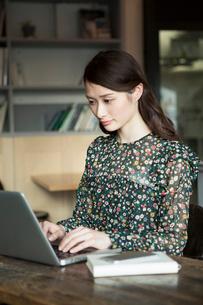 パソコンを使う20代女性の写真素材 [FYI01737811]