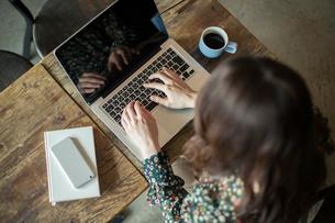パソコンを使う女性の手元の写真素材 [FYI01737851]