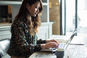 パソコンを使う20代女性の写真素材 [FYI01737883]