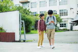 スマホを見る小学生男子2人の写真素材 [FYI01737952]