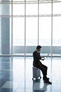 キャリーケースに座りノートパソコンを操作するスーツ姿の20代男性の写真素材 [FYI01738585]