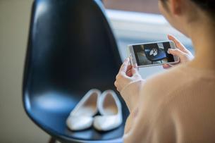 パンプスの写メを撮る女性の後ろ姿の写真素材 [FYI01738952]