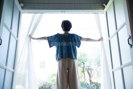 カーテンを開ける20代女性の後ろ姿の写真素材 [FYI01739029]