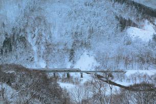 秋田新幹線こまちと冬景色の写真素材 [FYI01739580]