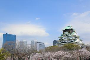 西の丸庭園から望む春の大阪城とビジネスパークの写真素材 [FYI01740585]