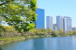 初夏の大阪城公園とビジネスパークの写真素材 [FYI01740978]