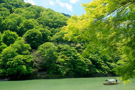 京都 新緑の嵐山と保津川下りの写真素材 [FYI01741733]
