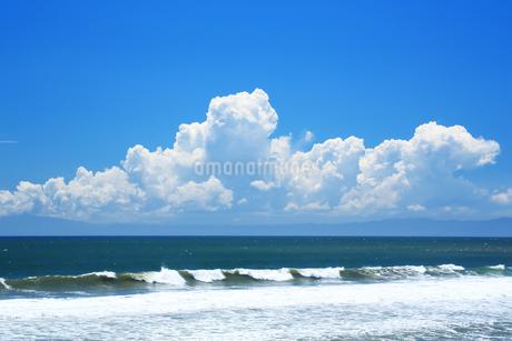 夏の湘南の海と入道雲の写真素材 [FYI01742063]