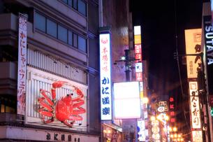 大阪,道頓堀の夜景,かに道楽の写真素材 [FYI01742067]