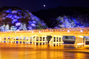 京都,嵐山,渡月橋,花灯路の写真素材 [FYI01742392]