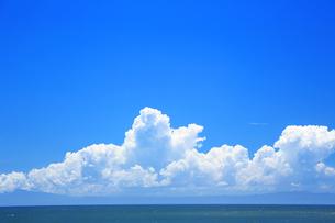 夏の湘南の海と入道雲の写真素材 [FYI01742417]