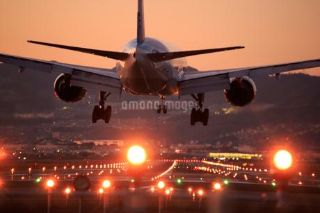 伊丹空港の夜景,着陸する飛行機の写真素材 [FYI01742449]
