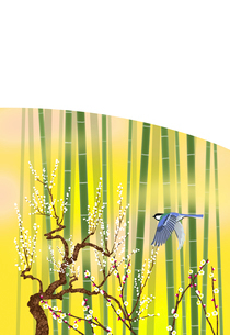 竹林と白梅と四十雀のイラスト素材 [FYI01742656]