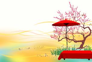 紅梅と野点 横のイラスト素材 [FYI01742657]