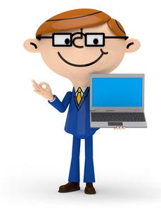左手でノートPCを持ち 右手でOKサインを出すビジネスマンの写真素材 [FYI01742815]