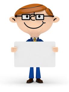 メッセージボードを両手で持つビジネスマンの写真素材 [FYI01743073]