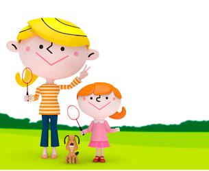 緑の上でバドミントンをする女の子とママと犬の写真素材 [FYI01743082]
