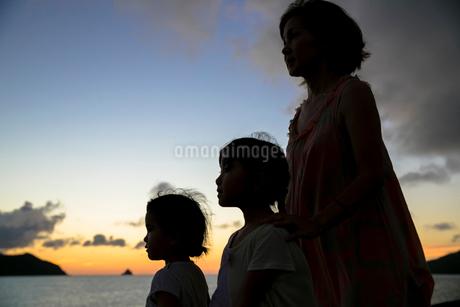 夕日をバックにたそがれる親子の写真素材 [FYI01743211]