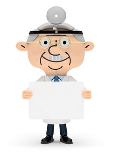 メッセージボードを両手で持つドクターの写真素材 [FYI01743311]