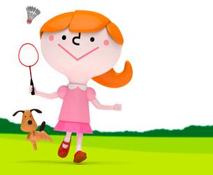 緑の上でバドミントンをする女の子と犬の写真素材 [FYI01743326]