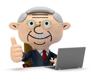 ノートPCを操作しながらサムアップする社長の写真素材 [FYI01743328]