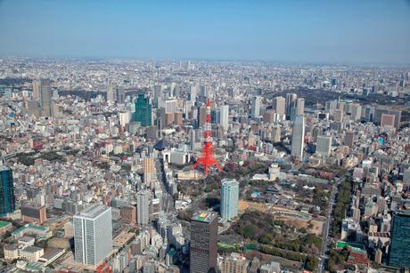 東京タワー芝公園、虎ノ門、麻布周辺の航空写真の写真素材 [FYI01743700]