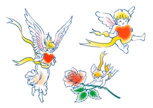 ハートやバラを届ける天使のイラスト素材 [FYI01743866]