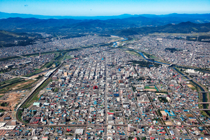 北海道旭川中心の航空写真の写真素材 [FYI01743891]