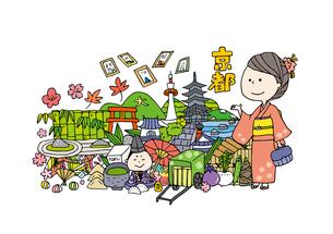 京都観光をする女性1人のイラスト素材 [FYI01745037]