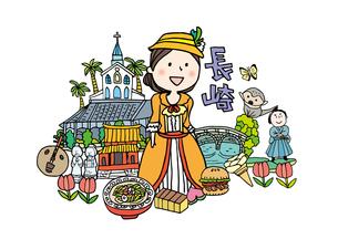 長崎観光をする女性1人のイラスト素材 [FYI01745054]