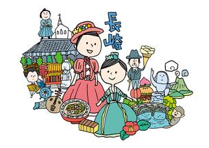 長崎観光をする女性2人のイラスト素材 [FYI01745059]